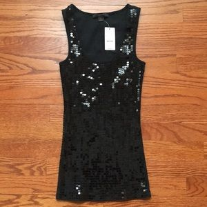 NWT Express Black Sequin Ribbed Tank